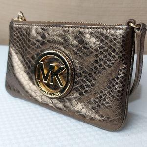 Michael Kors Small Metallic Brown Wristlet